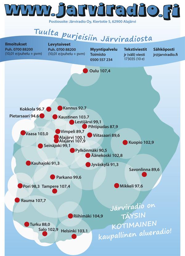 Järviradion kuuluvuusaluekartta